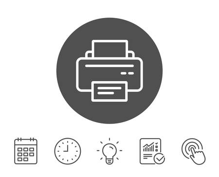 Printer icon. Printout Electronic Device sign. Office equipment symbol. Report, Clock and Calendar line signs. Light bulb and Click icons. Editable stroke. Vector 版權商用圖片 - 84810004