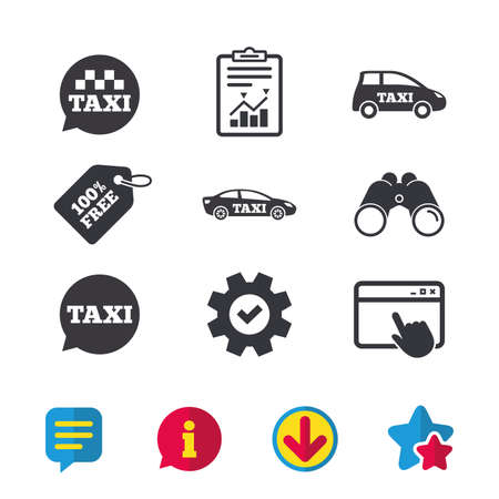Public transport icons. Taxi speech bubble signs. Car transport symbol. Browser window, Report and Service signs. Binoculars, Information and Download icons. Stars and Chat. Vector Illustration