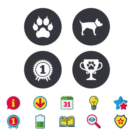 Pets icons. Cat paw with clutches sign. Winner cup and medal symbol. Dog silhouette. Calendar, Information and Download signs. Stars, Award and Book icons. Light bulb, Shield and Search. Vector