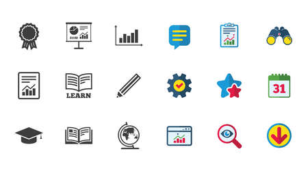 Education and study icon. Presentation signs. Report, analysis and award medal symbols. Calendar, Report and Download signs. Stars, Service and Search icons. Statistics, Binoculars and Chat. Vector Illustration