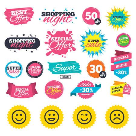 Verkauf einkaufen Banner. Smile Symbole. Glücklich, traurig und Wink stellt Symbol gegenüber. Lachende lol smileyzeichen. Web-Abzeichen, Spritzer und Aufkleber. Bestes Angebot. Vektor Standard-Bild - 84798355