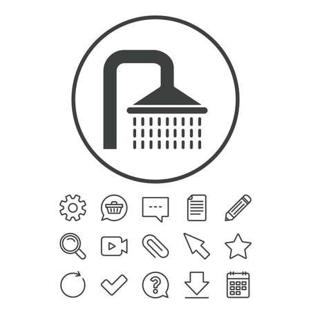 シャワー記号アイコン。水の潅水は、シンボルを削除します。ドキュメント、チャットやペーパー クリップ ラインの標識。質問、鉛筆、カレンダー  イラスト・ベクター素材
