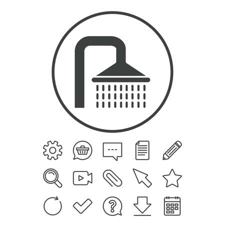 Shower sign icon. Douche with water drops symbol. Document, Chat and Paper clip line signs. Question, Pencil and Calendar line icons. Star, Download and Shopping cart. Vector Illustration