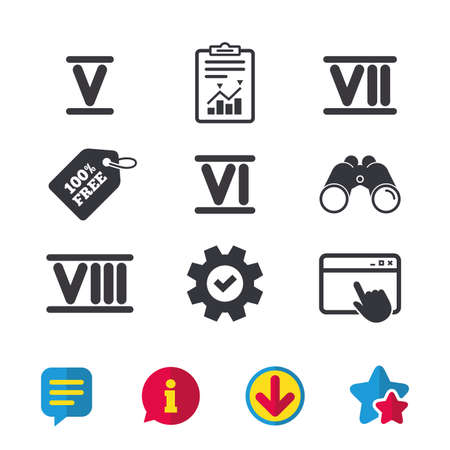 Roman numeral icons. 5, 6, 7 and 8 digit characters. Ancient Rome numeric system. Browser window, Report and Service signs. Binoculars, Information and Download icons. Stars and Chat. Vector Фото со стока - 84798364
