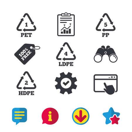 ペット 1、Ld pe 4、PP 5 および Hd-pe 2 アイコン。高密度ポリエチレン テレフタ レートの看板。リサイクルのシンボル。ブラウザー ウィンドウ、レポー  イラスト・ベクター素材