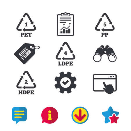 PET 1, Ld-pe 4, PP 5 and Hd-pe 2 icons. High-density Polyethylene terephthalate sign. Recycling symbol. Browser window, Report and Service signs. Binoculars, Information and Download icons. Vector Illustration