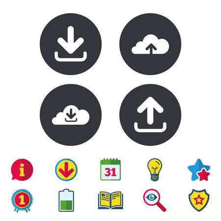 Download now icon. Upload from cloud symbols. Receive data from a remote storage signs. Calendar, Information and Download signs. Stars, Award and Book icons. Light bulb, Shield and Search. Vector Illustration