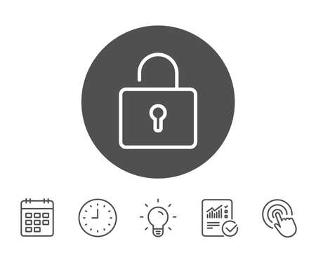 Lock line icon. Private locker sign. Password encryption symbol. Report, Clock and Calendar line signs. Light bulb and Click icons. Editable stroke. Vector