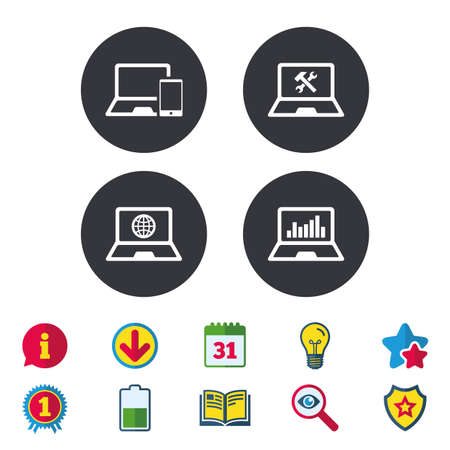 Notebook laptop pc icons. Internet globe sign. Repair fix service symbol. Monitoring graph chart. Calendar, Information and Download signs. Stars, Award and Book icons. Light bulb, Shield and Search Illustration