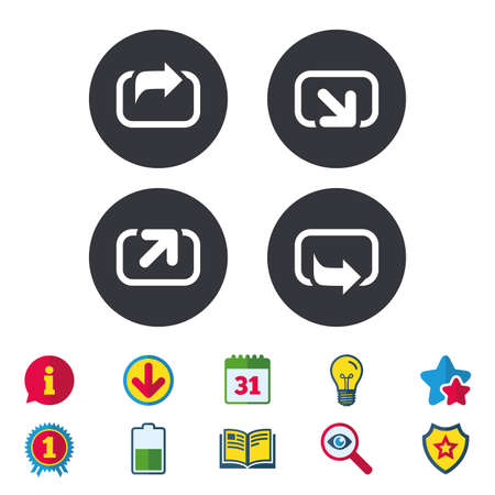 Action icons. Share symbols. Send forward arrow signs. Calendar, Information and Download signs. Stars, Award and Book icons. Light bulb, Shield and Search. Vector Ilustracja