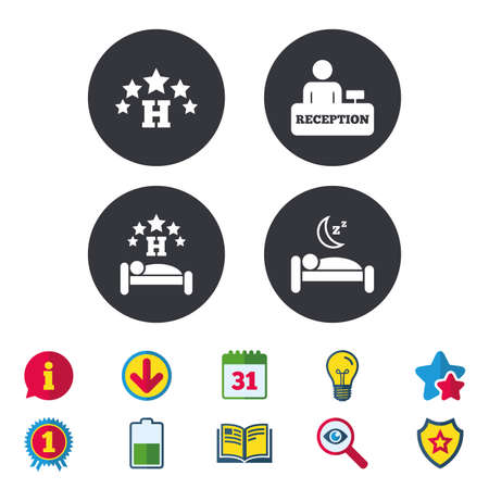 Five stars hotel icons. Travel rest place symbols. Human sleep in bed sign. Hotel check-in registration or reception. Calendar, Information and Download signs. Stars, Award and Book icons. Vector 向量圖像