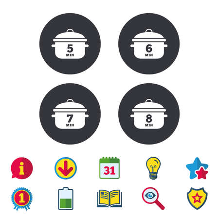 Cooking pan icons. Boil 5, 6, 7 and 8 minutes signs. Stew food symbol. Calendar, Information and Download signs. Stars, Award and Book icons. Light bulb, Shield and Search. Vector