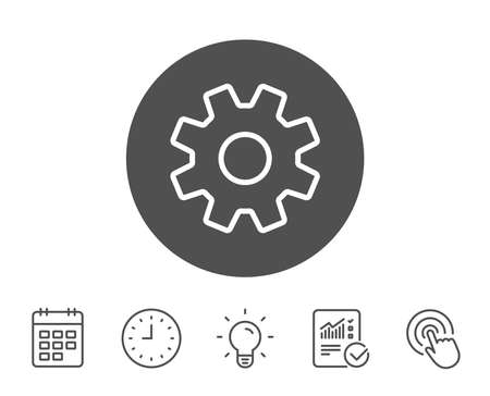 Cogwheel line icon. Service sign. Transmission Rotation Mechanism symbol. Report, Clock and Calendar line signs. Light bulb and Click icons. Editable stroke. Vector Illustration