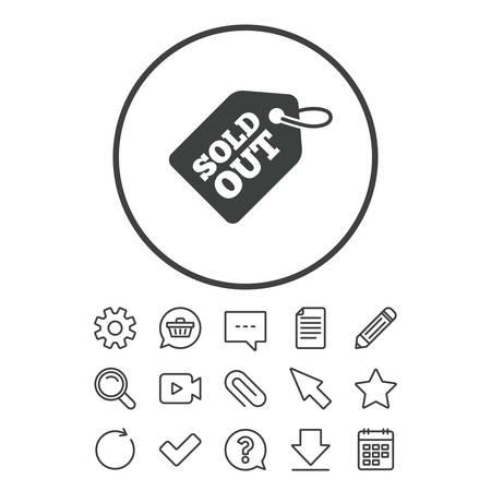タグ アイコンは完売。メッセージ サインをショッピングします。特別オファー バナー記号です。ドキュメント、チャットやペーパー クリップ ライ  イラスト・ベクター素材