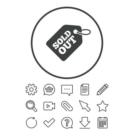 Sold out tag icon. Shopping message sign. Special offer banner symbol. Document, Chat and Paper clip line signs. Question, Pencil and Calendar line icons. Star, Download and Shopping cart. Vector Ilustração