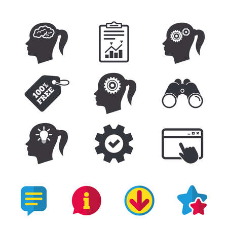 Head with brain and idea lamp bulb icons. Female woman think symbols. Cogwheel gears signs. Browser window, Report and Service signs. Binoculars, Information and Download icons. Stars and Chat. Vector