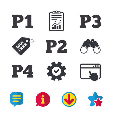 Car parking icons. First, second, third and four floor signs. P1, P2, P3 and P4 symbols. Browser window, Report and Service signs. Binoculars, Information and Download icons. Stars and Chat. Vector