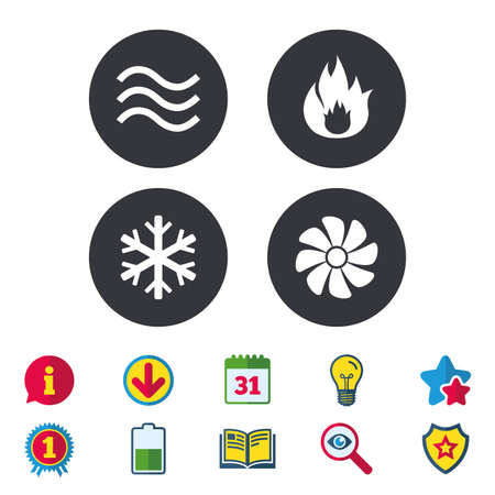 HVAC icons. Heating, ventilating and air conditioning symbols. Water supply. Climate control technology signs. Calendar, Information and Download signs. Stars, Award and Book icons. Vector Ilustração