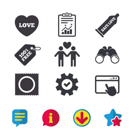 Condom safe sex icons. Lovers Gay couple signs. Male love male. Heart symbol. Browser window, Report and Service signs. Binoculars, Information and Download icons. Stars and Chat. Vector Illustration
