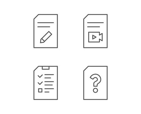 Document, Checklist and Edit file line icons. Document Management, Question mark and Video file signs. Quality design elements. Editable stroke. Vector