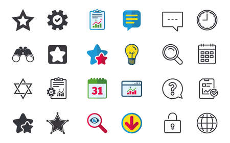 Star of David icons. Sheriff police sign. Symbol of Israel. Chat, Report and Calendar signs. Stars, Statistics and Download icons. Question, Clock and Globe. Vector Illustration