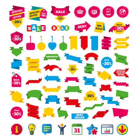 Online shopping icons. Smartphone, shopping cart, buy now arrow and internet signs. WWW globe symbol. Shopping tags, banners and coupons signs. Calendar, Information and Download icons. Vector