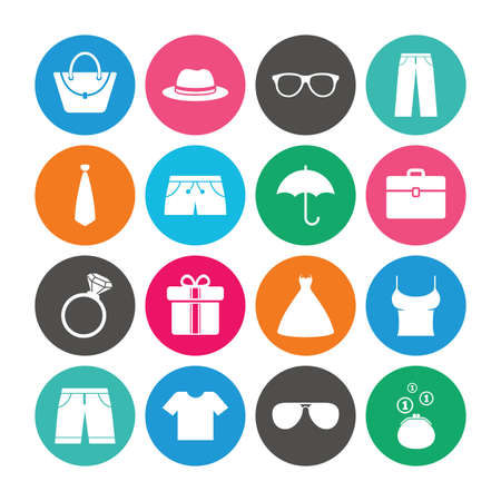 Set of Clothes, Accessories and Glasses icons. Shirt, Umbrella and Hat signs. Wallet, Handbag and Briefcase symbols. Colored circle buttons with flat signs. Vector