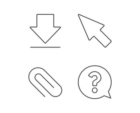 ダウンロード、添付ファイルのクリップ、カーソル行のアイコン。音声バブル記号に疑問符。品質デザイン要素です。編集可能なストローク。ベク  イラスト・ベクター素材
