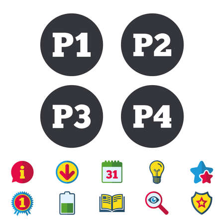 Car parking icons. First, second, third and four floor signs. P1, P2, P3 and P4 symbols. Calendar, Information and Download signs. Stars, Award and Book icons. Light bulb, Shield and Search. Vector
