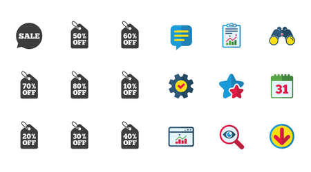 Sale discounts icons. Special offer signs. Shopping price tag symbols. Calendar, Report and Download signs. Stars, Service and Search icons. Statistics, Binoculars and Chat. Vector