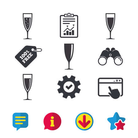 Champagne wine glasses icons. Alcohol drinks sign symbols. Sparkling wine with bubbles. Browser window, Report and Service signs. Binoculars, Information and Download icons. Stars and Chat. Vector