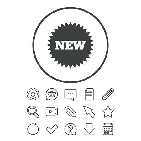 New sign icon. New arrival star symbol. Document, Chat and Paper clip line signs. Question, Pencil and Calendar line icons. Star, Download and Shopping cart. Vector