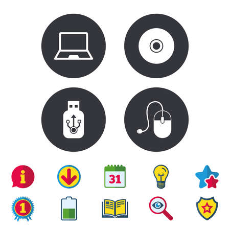 Notebook pc and Usb flash drive stick icons. Computer mouse and CD or DVD sign symbols. Calendar, Information and Download signs. Stars, Award and Book icons. Light bulb, Shield and Search. Vector 向量圖像