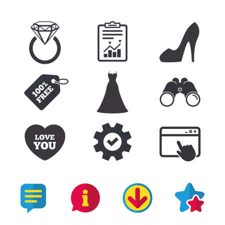 Wedding dress icon. Womens shoe and love heart symbols. Wedding or engagement day ring with diamond sign. Browser window, Report and Service signs. Binoculars, Information and Download icons. Vector