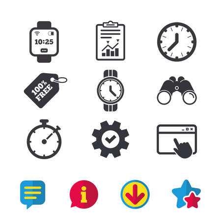 Smart watch icons. Mechanical clock time, Stopwatch timer symbols. Wrist digital watch sign. Browser window, Report and Service signs. Binoculars, Information and Download icons. Stars and Chat Stock Vector - 84954551