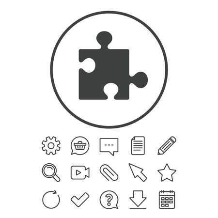 Puzzle piece sign icon. Strategy symbol. Document, Chat and Paper clip line signs. Question, Pencil and Calendar line icons. Star, Download and Shopping cart. Vector