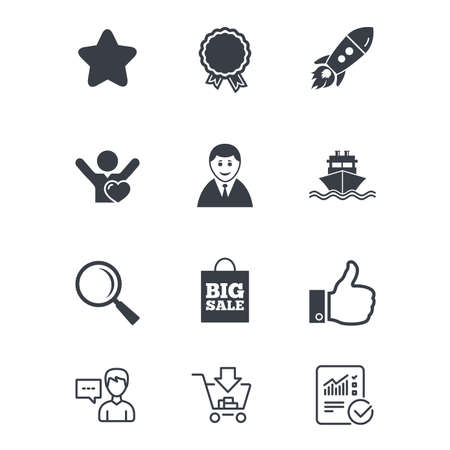 Online shopping, e-commerce and business icons. Start up, award and customers like signs. Big sale, shipment and favorite symbols. Customer service, Shopping cart and Report line signs. Vector