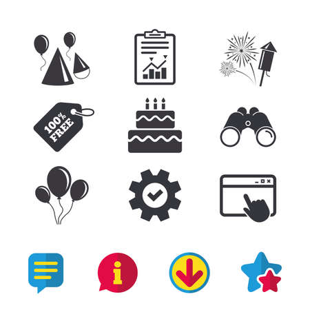 Birthday party icons. Cake, balloon, hat and muffin signs. Fireworks with rocket symbol. Double decker with candle. Browser window, Report and Service signs. Binoculars, Information and Download icons