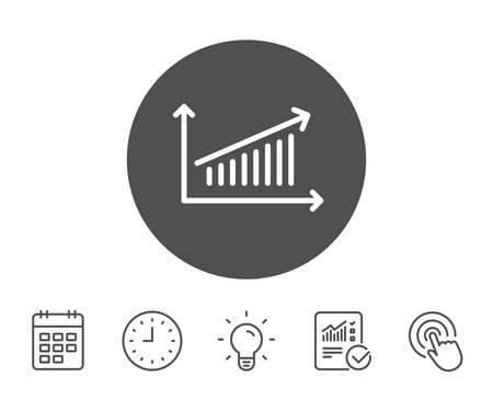 차트 라인 아이콘입니다. 보고서 그래프 또는 판매 성장 사인. 분석 및 통계 데이터 기호입니다. 보고서, 시계 및 캘린더 라인 표지판. 전구 및 클릭 아