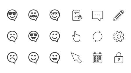 Smile speech bubbles icons. Happy, sad and wink faces signs. Sunglasses, mustache and laughing lol smiley symbols. Chat, Report and Calendar line signs. Service, Pencil and Locker icons. Vector