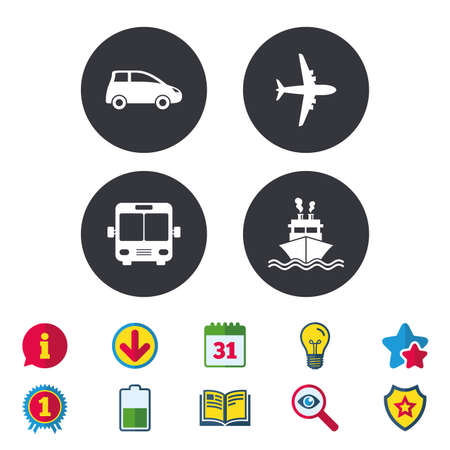 Transport icons. Car, Airplane, Public bus and Ship signs. Shipping delivery symbol. Air mail delivery sign. Calendar, Information and Download signs. Stars, Award and Book icons. Vector Illustration