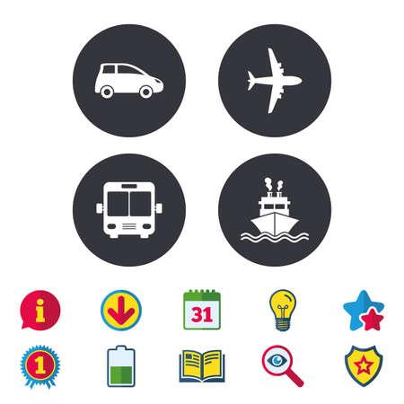 Vervoer pictogrammen. Auto-, vliegtuig-, bus- en scheepvaartborden. Verzendsymbool. Air mail bezorg teken. Kalender, informatie en downloadborden. Pictogrammen voor sterren, awards en boeken. Vector