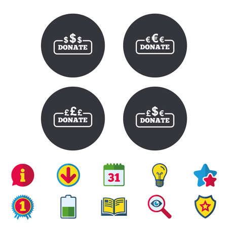 Donate money icons. Dollar, euro and pounds symbols. Multicurrency signs. Calendar, Information and Download signs. Stars, Award and Book icons. Light bulb, Shield and Search. Vector Çizim