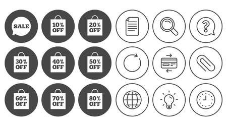 Sale discounts icons. Special offer signs. Shopping bag, price tag symbols. Document, Globe and Clock line signs. Lamp, Magnifier and Paper clip icons. Question, Credit card and Refresh. Vector Illustration