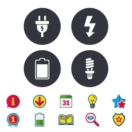 Stekkerpictogram. Fluorescentielamp en batterijsymbolen. Weinig elektriciteit en ideetekens. Kalender, informatie en downloadborden. Pictogrammen voor sterren, awards en boeken. Gloeilamp, schild en zoeken. Vector