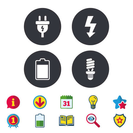 Electric plug icon. Fluorescent lamp and battery symbols. Low electricity and idea signs. Calendar, Information and Download signs. Stars, Award and Book icons. Light bulb, Shield and Search. Vector