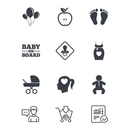 Pregnancy, maternity and baby care icons. Air balloon, baby carriage and pacifier signs. Footprint, apple and newborn symbols. Customer service, Shopping cart and Report line signs. Vector