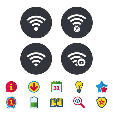 Wifi Wireless Network icons. Wi-fi zone locked symbols. Password protected Wi-fi sign. Calendar, Information and Download signs. Stars, Award and Book icons. Light bulb, Shield and Search. Vector Illustration