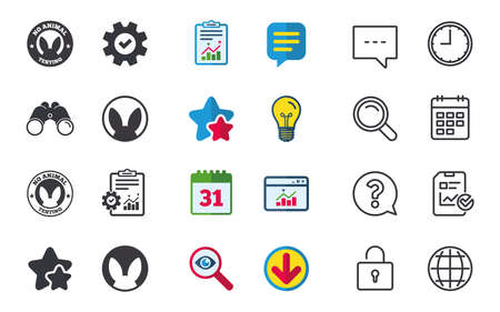 No animals testing icons. Non-human experiments signs symbols. Chat, Report and Calendar signs. Stars, Statistics and Download icons. Question, Clock and Globe. Vector