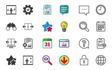 Automatic door icons. Elevator symbols. Auto open. Person symbol with up and down arrows. Chat, Report and Calendar signs. Stars, Statistics and Download icons. Question, Clock and Globe. Vector